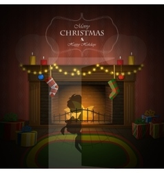 Christmas decorated fireplace vector