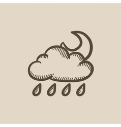 Cloud with rain and moon sketch icon vector image