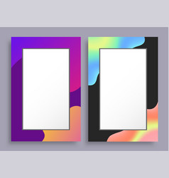 colorful empty vertical frames with bright stains vector image
