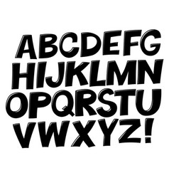 comic black and white alphabet set comic text vector image