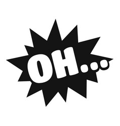 Comic boom oh icon simple black style vector