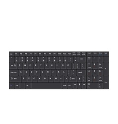 Computer realistic black keyboard isolated vector