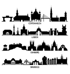copenhagen lisbon edinburgh and brussels vector image vector image