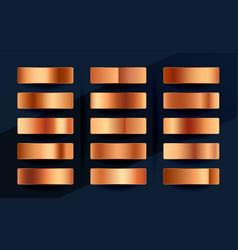 copper or rose gold premium gradient swatches vector image