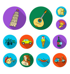 country italy flat icons in set collection for vector image