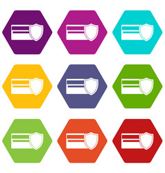 credit card and shield icon set color hexahedron vector image