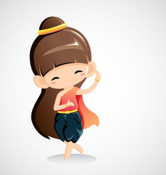 Cute girl in national costume -Thai dance vector