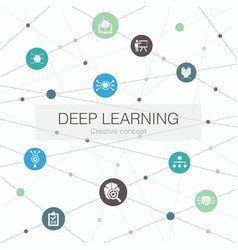 Deep learning trendy web template with simple vector