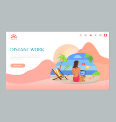Distant online work girl sitting on sand vector