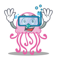 diving cute jellyfish character cartoon vector image