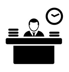 Employer icon male person avatar symbol with desk vector