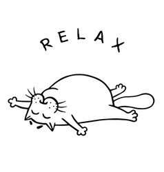 Fat cat is lying down and relax isolated vector