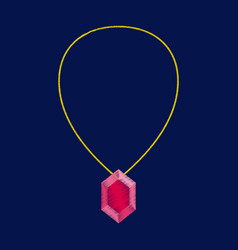 flat shading style icon necklace with precious vector image