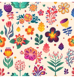 Flowers seamless pattern decorative card doodle p vector