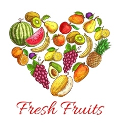 Fresh fruits and berries heart shape poster vector image