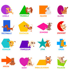 Geometric shapes with dogs characters set vector
