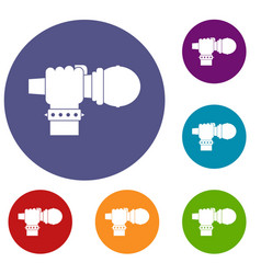 Hand microphone icons set vector