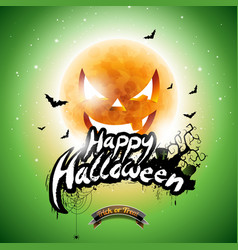 Happy halloween with bats and moon on green vector
