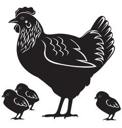 Hen and chicken vector