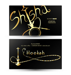 Hookah and shisha golden business card vector