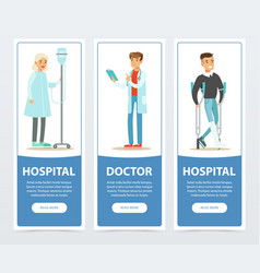 hospital and doctor banners set medical vector image