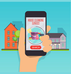 house cleaning service concept hand holding vector image