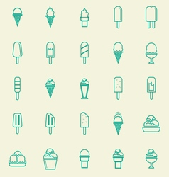 Ice cream line color icons on yellow background vector image