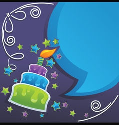 Irthday cake candle and speech bubbles vector