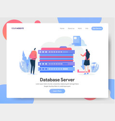 landing page template database server concept vector image