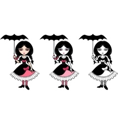 Little goth emo girl with umbrella vector image