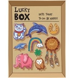 Lucky amulets and happy symbols collection in a vector