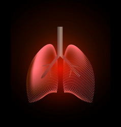 Lungs with a point of pain stylized transition vector