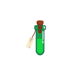 Magic green potion or poison in glass tube flat vector