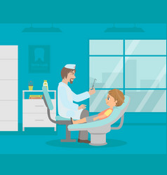 male dentist doctor curing teeth to boy in clinic vector image