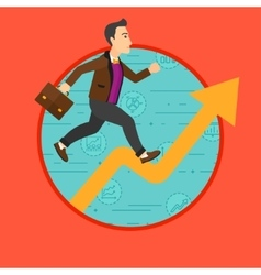 Man running on growth graph vector
