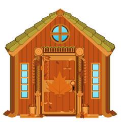 Maple cabin cartoon vector