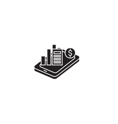 mobile analytics black concept icon mobile vector image