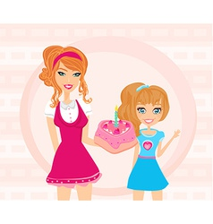Mother gives her daughter a birthday cake vector