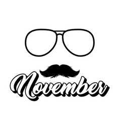moustaches and sunglasses november clipart black vector image