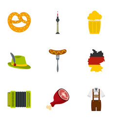 oktoberfest festival icons set flat style vector image