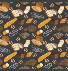 pattern of bakery food bread rye bread ciabatta vector image