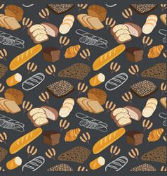 Pattern of bakery food bread rye bread ciabatta vector