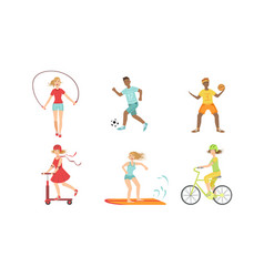 People doing different kinds sports set hockey vector