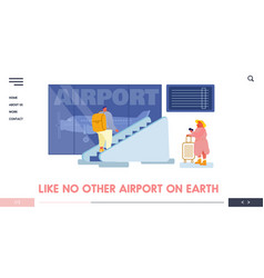 people in airport terminal website landing page vector image