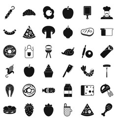 Prepared dish icons set simple style vector