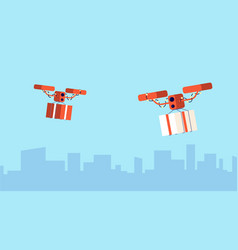 Presents drone delivery christmas gift flying vector