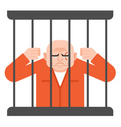Prisoner in jail convict holds on to bars vector