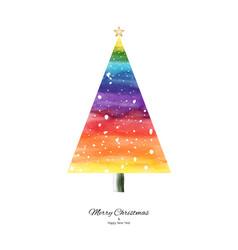 rainbow watercolor christmas tree hand-painted vector image