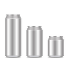 realistic detailed 3d blank metal can template vector image