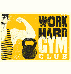 Retro gym vintage grunge poster with strong man vector